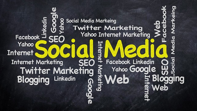 Title Social Media surrounded by words Web, Twitter, SEO, Marketing, etc.