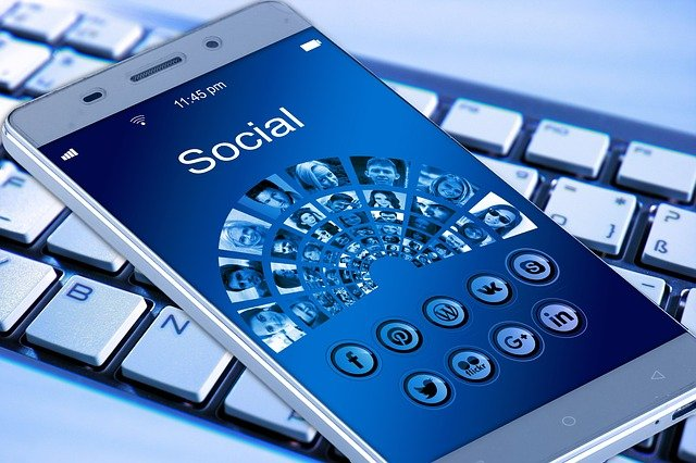Social media networks on the smartphone screen.